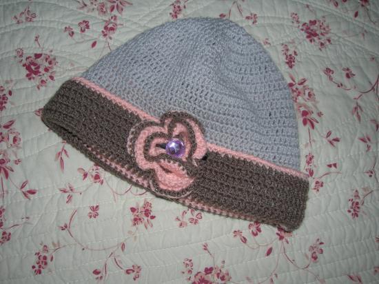 Bonnet  réversible fleur avec strass